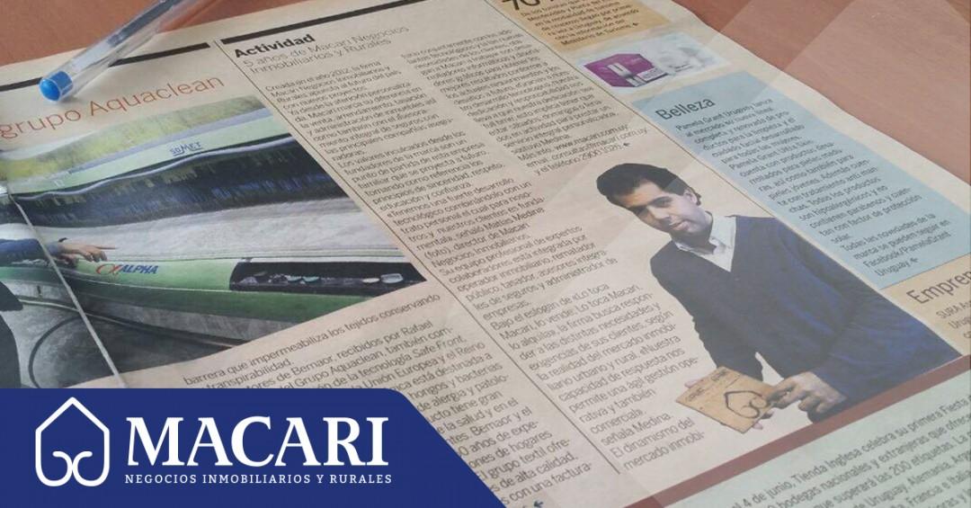 """5 años de Macari, nota en """"El Empresario"""""""