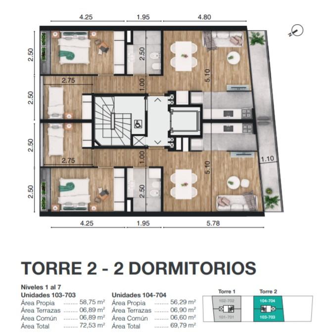 TORRE 2 - 2 DORMITORIOS
